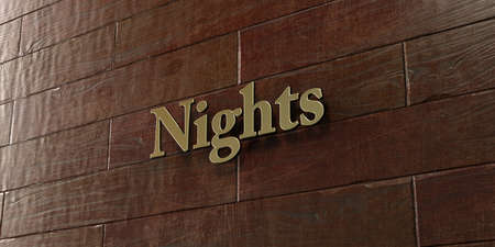 nights: Nights - Bronze plaque mounted on maple wood wall  - 3D rendered royalty free stock picture. This image can be used for an online website banner ad or a print postcard. Stock Photo