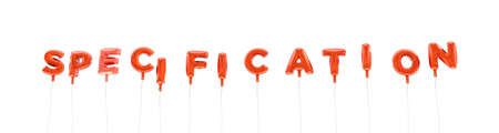 SPECIFICATION - word made from red foil balloons - 3D rendered.  Can be used for an online banner ad or a print postcard.