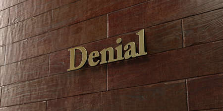 denial: Denial - Bronze plaque mounted on maple wood wall  - 3D rendered royalty free stock picture. This image can be used for an online website banner ad or a print postcard.
