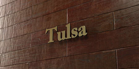tulsa: Tulsa - Bronze plaque mounted on maple wood wall  - 3D rendered royalty free stock picture. This image can be used for an online website banner ad or a print postcard.