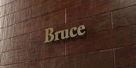 ブルースは-3 D レンダリングされたロイヤリティ フリーのストック画像 - メープル木製壁面マウント ブロンズ プラーク。この画像は、オンラインの
