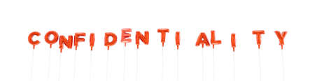CONFIDENTIALITY - word made from red foil balloons - 3D rendered.  Can be used for an online banner ad or a print postcard. Stock Photo