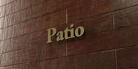 patio: Patio - Bronze plaque mounted on maple wood wall  - 3D rendered royalty free stock picture. This image can be used for an online website banner ad or a print postcard. Stock Photo