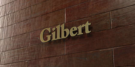 gilbert: Gilbert - Bronze plaque mounted on maple wood wall  - 3D rendered royalty free stock picture. This image can be used for an online website banner ad or a print postcard.