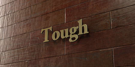 tough: Tough - Bronze plaque mounted on maple wood wall  - 3D rendered royalty free stock picture. This image can be used for an online website banner ad or a print postcard.