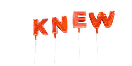 knew: KNEW - word made from red foil balloons - 3D rendered.  Can be used for an online banner ad or a print postcard.