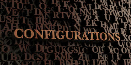 configurations: Configurations - Wooden 3D rendered lettersmessage.  Can be used for an online banner ad or a print postcard. Stock Photo