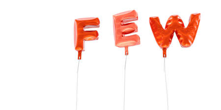 FEW - word made from red foil balloons - 3D rendered.  Can be used for an online banner ad or a print postcard.