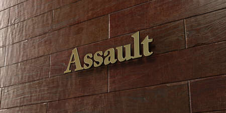 Assault - Bronze plaque mounted on maple wood wall  - 3D rendered royalty free stock picture. This image can be used for an online website banner ad or a print postcard. Stock Photo