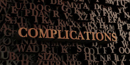 Complications - Wooden 3D rendered letters/message.  Can be used for an online banner ad or a print postcard. Foto de archivo