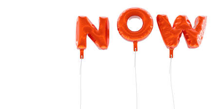 NOW - word made from red foil balloons - 3D rendered.  Can be used for an online banner ad or a print postcard.