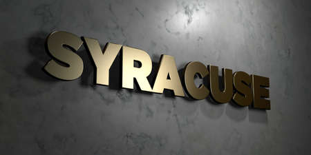 Syracuse - Gold sign mounted on glossy marble wall  - 3D rendered royalty free stock illustration. This image can be used for an online website banner ad or a print postcard.