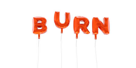 BURN - word made from red foil balloons - 3D rendered.  Can be used for an online banner ad or a print postcard.