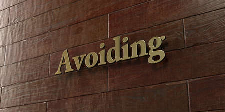 avoiding: Avoiding - Bronze plaque mounted on maple wood wall  - 3D rendered royalty free stock picture. This image can be used for an online website banner ad or a print postcard. Stock Photo