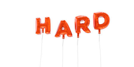 HARD - word made from red foil balloons - 3D rendered.  Can be used for an online banner ad or a print postcard.