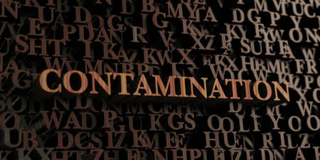 contamination: Contamination - Wooden 3D rendered lettersmessage.  Can be used for an online banner ad or a print postcard.