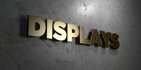 displays: Displays - Gold sign mounted on glossy marble wall  - 3D rendered royalty free stock illustration. This image can be used for an online website banner ad or a print postcard.