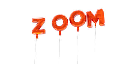 ZOOM - word made from red foil balloons - 3D rendered.  Can be used for an online banner ad or a print postcard. Stock Photo