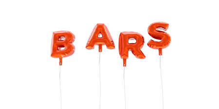 BARS - word made from red foil balloons - 3D rendered.  Can be used for an online banner ad or a print postcard.