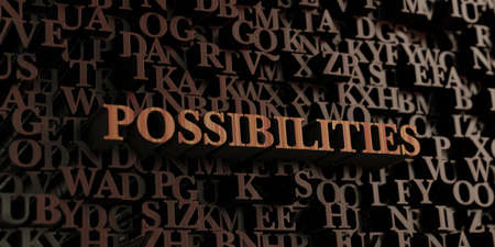 Possibilities - Wooden 3D rendered letters/message.  Can be used for an online banner ad or a print postcard. Reklamní fotografie