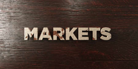 Markets - grungy wooden headline on Maple  - 3D rendered royalty free stock image. This image can be used for an online website banner ad or a print postcard. Reklamní fotografie