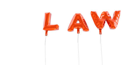 LAW - word made from red foil balloons - 3D rendered.  Can be used for an online banner ad or a print postcard.