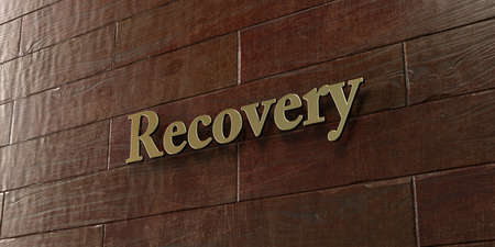 Recovery - Bronze plaque mounted on maple wood wall  - 3D rendered royalty free stock picture. This image can be used for an online website banner ad or a print postcard.