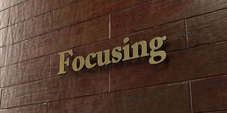 Focusing - Bronze plaque mounted on maple wood wall  - 3D rendered royalty free stock picture. This image can be used for an online website banner ad or a print postcard.