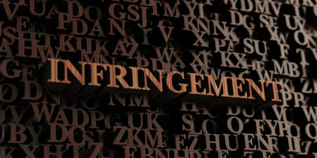 infringement: Infringement - Wooden 3D rendered lettersmessage.  Can be used for an online banner ad or a print postcard.