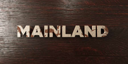 Mainland - grungy wooden headline on Maple  - 3D rendered royalty free stock image. This image can be used for an online website banner ad or a print postcard.