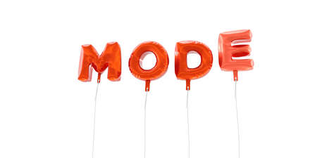 mode made: MODE - word made from red foil balloons - 3D rendered.  Can be used for an online banner ad or a print postcard.