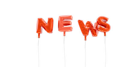NEWS - word made from red foil balloons - 3D rendered.  Can be used for an online banner ad or a print postcard.