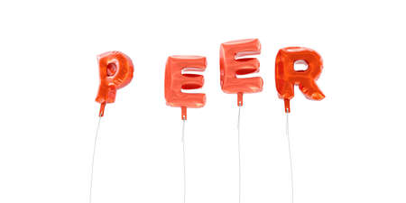 peer to peer: PEER - word made from red foil balloons - 3D rendered.  Can be used for an online banner ad or a print postcard.