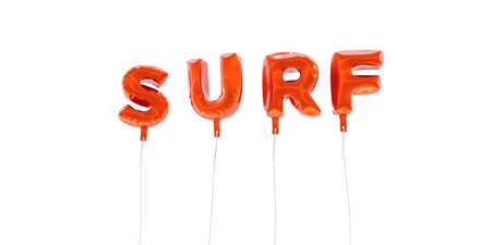 SURF - word made from red foil balloons - 3D rendered.  Can be used for an online banner ad or a print postcard. Stock Photo