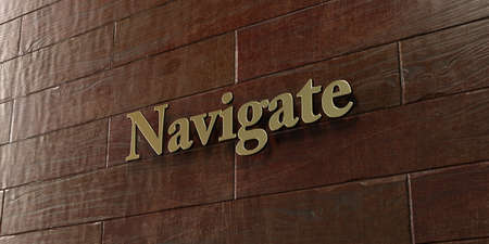 Navigate - Bronze plaque mounted on maple wood wall  - 3D rendered royalty free stock picture. This image can be used for an online website banner ad or a print postcard.