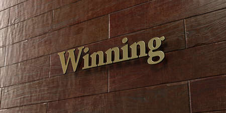 Winning - Bronze plaque mounted on maple wood wall  - 3D rendered royalty free stock picture. This image can be used for an online website banner ad or a print postcard.