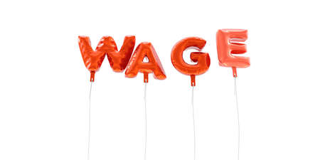 WAGE - word made from red foil balloons - 3D rendered.  Can be used for an online banner ad or a print postcard.