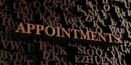 appointments: Appointments - Wooden 3D rendered lettersmessage.  Can be used for an online banner ad or a print postcard. Stock Photo