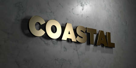 Coastal - Gold sign mounted on glossy marble wall  - 3D rendered royalty free stock illustration. This image can be used for an online website banner ad or a print postcard.