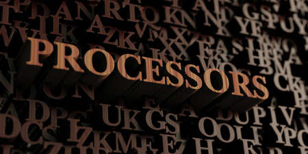 processors: Processors - Wooden 3D rendered lettersmessage.  Can be used for an online banner ad or a print postcard. Stock Photo