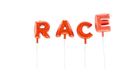 RACE - word made from red foil balloons - 3D rendered.  Can be used for an online banner ad or a print postcard. Stock Photo