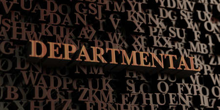 departmental: Departmental - Wooden 3D rendered lettersmessage.  Can be used for an online banner ad or a print postcard. Stock Photo