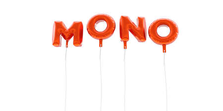 MONO - word made from red foil balloons - 3D rendered.  Can be used for an online banner ad or a print postcard. Stock Photo