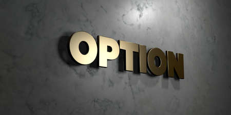 Option - Gold sign mounted on glossy marble wall  - 3D rendered royalty free stock illustration. This image can be used for an online website banner ad or a print postcard. Stock Photo