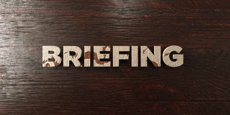 briefing: Briefing - grungy wooden headline on Maple  - 3D rendered royalty free stock image. This image can be used for an online website banner ad or a print postcard.
