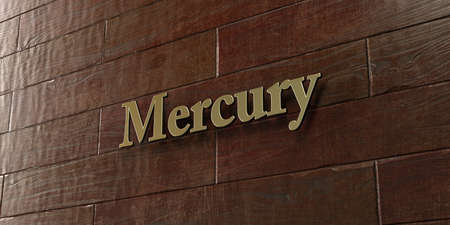 Mercury - Bronze plaque mounted on maple wood wall  - 3D rendered royalty free stock picture. This image can be used for an online website banner ad or a print postcard.