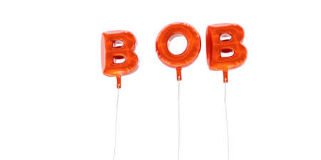 BOB - word made from red foil balloons - 3D rendered.  Can be used for an online banner ad or a print postcard.
