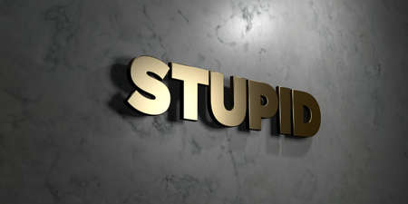 stupid body: Stupid - Gold sign mounted on glossy marble wall  - 3D rendered royalty free stock illustration. This image can be used for an online website banner ad or a print postcard. Stock Photo