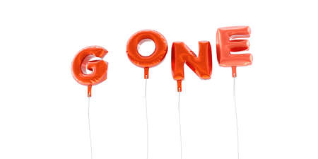 gone: GONE - word made from red foil balloons - 3D rendered.  Can be used for an online banner ad or a print postcard.