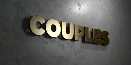 Couples - Gold sign mounted on glossy marble wall  - 3D rendered royalty free stock illustration. This image can be used for an online website banner ad or a print postcard.